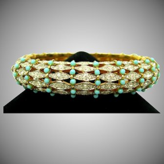 """JOMAZ 7"""" Bangle Bracelet Turquoise Cabochons Crystal Rhinestones"""