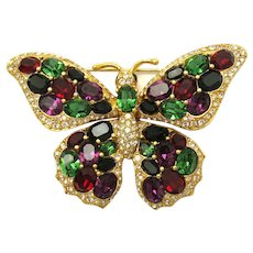 Vintage CINER Large Butterfly Brooch Pin Beautiful Colorful Jewels