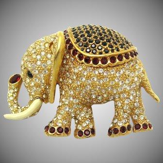 Vintage CINER Elephant Brooch Pin Swarovski Crystal Rhinestones GORGEOUS