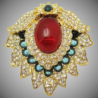Kenneth Jay Lane Shield Brooch Pin Pendant Jelly Belly Cabs Crystal Rhinestones