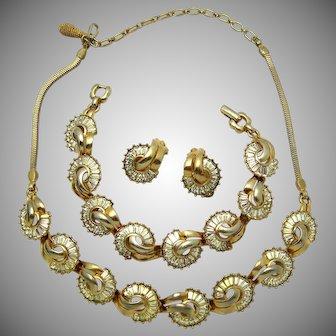 Beautiful Vintage PENNINO Parure Rhinestone Baguette Necklace Bracelet Earrings