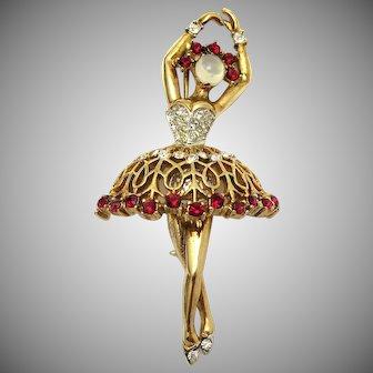 TRIFARI 'A. Philippe' Moonstones and Faux Rubies Pirouetting Ballerina Pin RARE