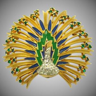 Vintage JOMAZ Peacock Brooch Pin 18k Gold Plated Rhinestones Enamel