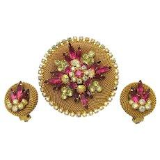 Vintage HOBE 1960's Set Large Brooch Earrings Lovely Colors Crystal Rhinestones