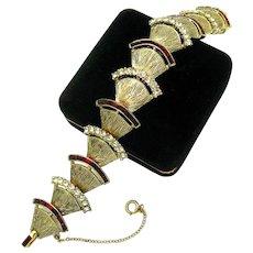 RARE Vintage 1940s CORO Link Style Bracelet Red Baguettes Crystal Rhinestones
