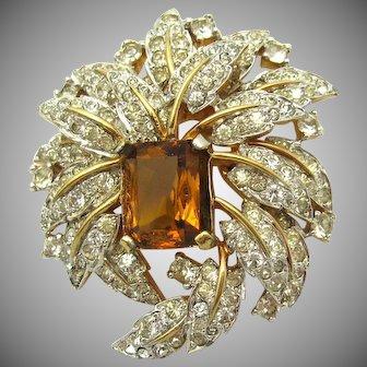 Shimmering JOMAZ Tiered Dimensional Floral Rhinestone Brooch