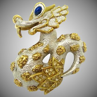 Vintage JOMAZ Mythological Dragon Dimensional Brooch Pin