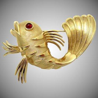 Rare CROWN TRIFARI 1960s Figural Gold Striped Dimensional Fish Brooch