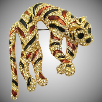 Iconic 1960s CINER Panther Brooch Enamel and Crystal Rhinestones