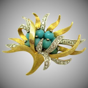Vintage BOUCHER 'Anemone' Brooch Turquoise Beads Crystal Rhinestones HTF