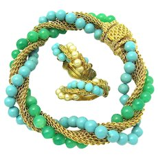 Early CINER Set Bracelet Earrings Turquoise and Green Glass Beads Faux Pearls