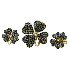 Pretty Vintage JOMAZ Floral Set Brooch Earrings Sapphire Crystal Rhinestones
