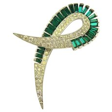 Elegant BOUCHER Emerald Green Baguette Crystal Rhinestone Brooch