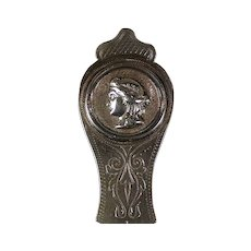 Ohio coin silver Medallion sauce ladle, P.A.Lafee, Dayton, Ohio, circa 1870.