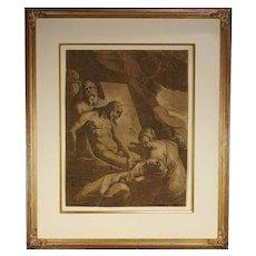 Italian Renaissance chiaroscuro woodcut of the Entombment ( Bartsch 44), by Andrea Andreani (1558-1629), after Rafaellino da Reggio (1550-1578), Florence, Italy, 1585, from the Collection of Leonard Baskin (1922-2000).