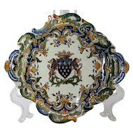 An early 20th century French faience bannete tray, Devres, possibly atelier of George Martel, circa 1910