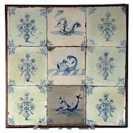 A framed set of nine 17th century Delft tiles, circa 1650-1700.
