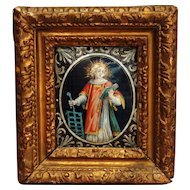 An early 17th century Limoges enamel plaque of St. Lawrence, probably from the workshop of Jean II Limosin, circa 1630