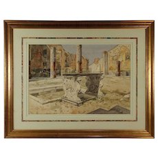 A watercolor by Antonio Mancini (1852- 1930) of the House of the Prince of Naples, Pompeii, circa 1895,
