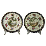 A pair of 18th century Worcester porcelain fluted desert plates in the 'Earl Dalhousie' pattern, circa 1775