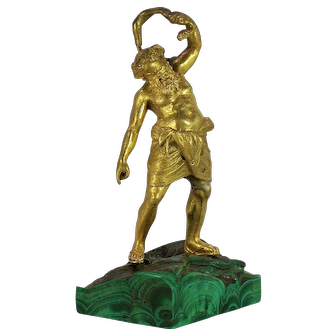 A fine late 17th century gilt-bronze of Silenus, probably French or Northern Italian, circa 1675