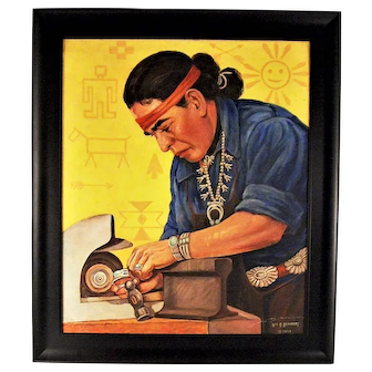 A fine mid-century painting of a Navaho silversmith by William R. Benkert, 1953