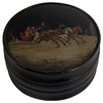 A large 19th century Russian lacquer tea caddy, probably Lukutin Factory, Moscow circa 1880