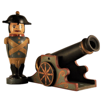 A vintage handmade toy general and his cannon, probably American circa 1950