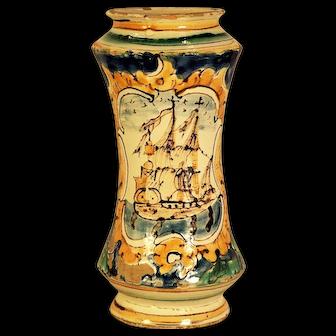 A rare late 16th century Italian majolica drug jar painted with a galleon, Caltagirone, Sicily, circa 1600