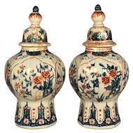 A pair of early 18th century Delft vases with covers, De Griekshe A factory,  Pieter Adriaensz Kocks, Delft circa 1701-3