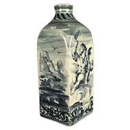 A 17th century Savona faience blue and white decorated flask, Savona, Italy circa 1660
