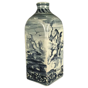 A 17th century Savona faience blue and white decorated flask, Savona, Italy circa 1660