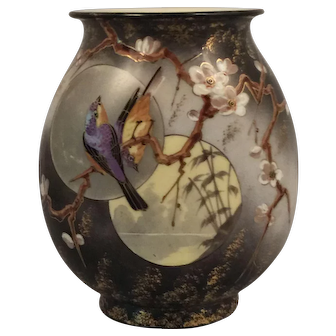 An American Aesthetic painted glass vase, probably Smith Brothers, Mount Washington Glass Company, New Bedford, Mass, circa 1880