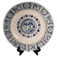 A large early 17th century Talavera Majolica blue and white decorated platter, circa 1620