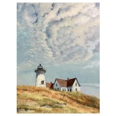 A vintage oil painting of the the Race Point Light at Provincetown, Cape Cod, Massachusetts, signed Werner John, 1986