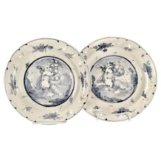 A pair of 17th century Genoese faience dinner plates from the Collection of Doris Duke, Genoa or Albissola circa 1670