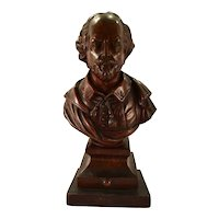 An 18th century carved mahogany finial bust of William Shakespeare, possibly Philadelphia, circa 1770