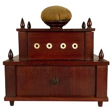 A 19th century mahogany Shaker sewing box, possibly Enfield, New Hampshire, circa 1850
