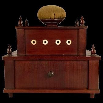 A 19th century mahogany Shaker sewing box, possibly Enfield, New Hampshire, circa 1850