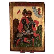 A 19th century Russian icon of Saints Boris and Gleb,  Vologda Region of Russia circa 1850