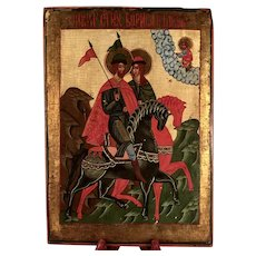 A 19th century Russian icon of Saints Boris and Gleb,  Vologda Region of Russia circa 1850