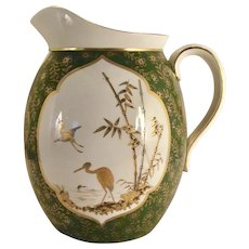 An English Aesthetic ceramic pitcher, probably Pinder, Bourne & Co., Doulton Manufactory, Burlsem, circa 1878-1882