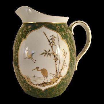 An English Aesthetic ceramic pitcher, probably Pinder, Bourne & Co., Doulton Manufactory, Burlsem, circa 1878-1882