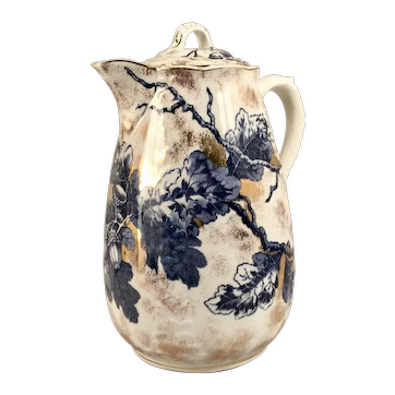 An Ott & Brewer white china semi-porcelain decorated coffee pot, Trenton, New Jersey, circa 1880