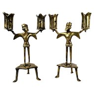 A pair of early 15th century Gothic figural candelabrum, Dinant or Nuremberg, circa 1430
