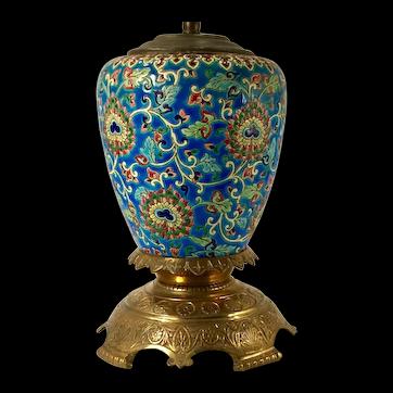 An antique Longwy Enamel Faience lamp, circa 1900