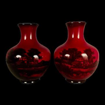 A matching pair of Royal Doulton Rouge Flambe Vases, Burlsem, England, circa 1965