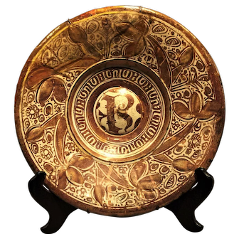 A large early 16th century Hispano-Moorish gold-luster decorated charger, probably Valencia or Manises, Spain, circa 1540