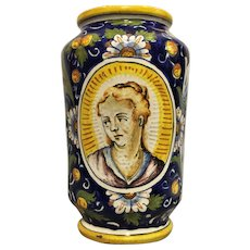 A late Venetian Renaissance majolica albarello/ drug jar, probably associated with the workshop of Domenico Veneziano, circa 1600