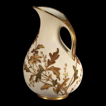 An Ott & Brewer American belleek porcelain ewer, Trenton, New Jersey, circa 1885